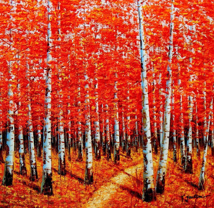 "Modern Art - Birch Grove In Autumn 32X32 "" Oil Painting | eBay"