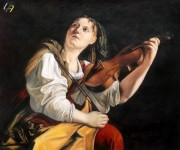 ORAZIO GENTILESCHI WOMAN PLAYING THE VIOLIN 20X24  MUSEUM QUALITY OIL PAINTING REPRO