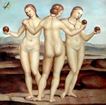RAFFAEL THE THREE GRACES 32X32 QUALITY OIL PAINTING