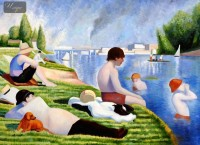 GEORGES SEURAT - BATHERS AT ASNIERES  36X48   OIL PAINTING REPRODUCTION