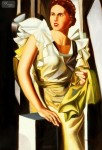 HOMAGE TO T. LEMPICKA - PORTRAIT OF A YOUNG WOMAN WITH COLUMN  32X44  OIL PAINTING REPRODUCTION
