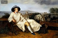 J. H. WILHELM TISCHBEIN - GOETHE IN THE CAMPAGNA  24X36   OIL PAINTING REPRODUCTION MUSEUM QUALITY