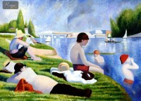 GEORGES SEURAT - BATHERS AT ASNIERES  32X44   OIL PAINTING REPRODUCTION