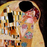 GUSTAV KLIMT THE KISS CLOSE UP 32X32   REPRODUCTION OIL PAINTING ART NOUVEAU