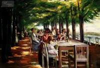 MAX LIEBERMANN - RESTAURANT JACOB AT THE ELBE 24X36   OIL PAINTING MUSEUM QUALITY