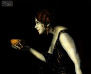 FRANZ VON STUCK - TILLA DURIEUX AS CIRCE 16X20   OIL PAINTING