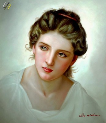 W. BOUGUEREAU HEAD STUDY OF A BLONDE WOMAN 20X24