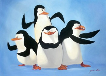 POPART - MADAGASCAR PENGUINS 32X44  ORIGINAL OIL PAINTING