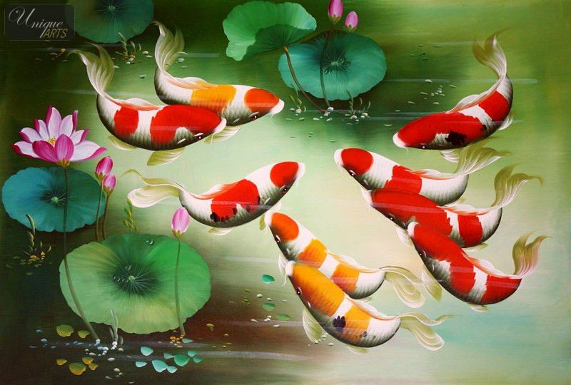 Koi fish in japanese pond 24x36 original oil painting for Japanese koi fish painting
