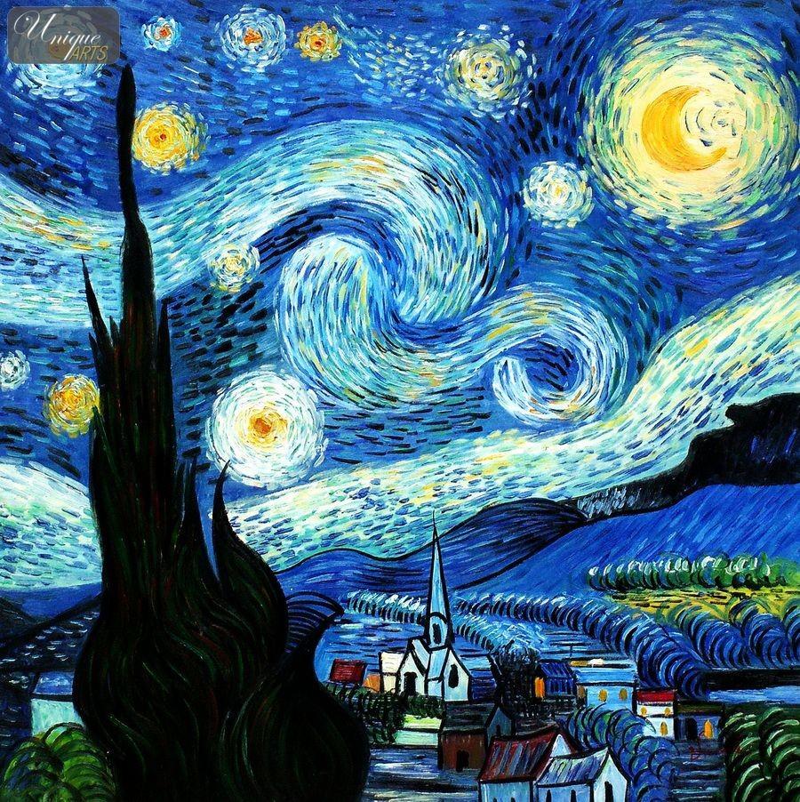 Van gogh starry night original painting car tuning