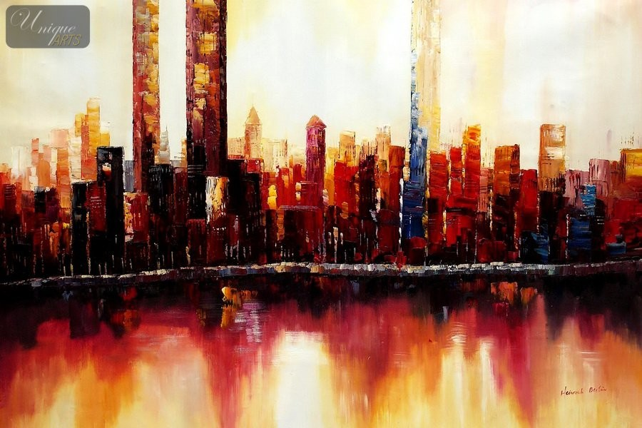 Oil paintings museum quality reproductions modern art for New york skyline painting