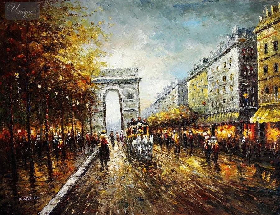 MODERN-ART-THE-ARC-DE-TRIUMPH-PARIS-PARIS-36X48-034-ORIGINAL-OIL-PAINTING