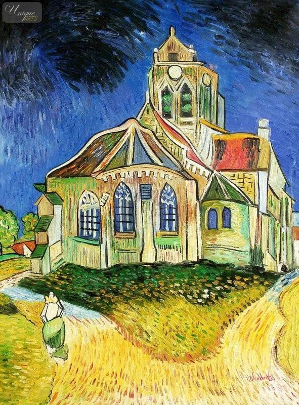 VINCENT VAN GOGH - THE CHURCH AT AUVERS 36X48