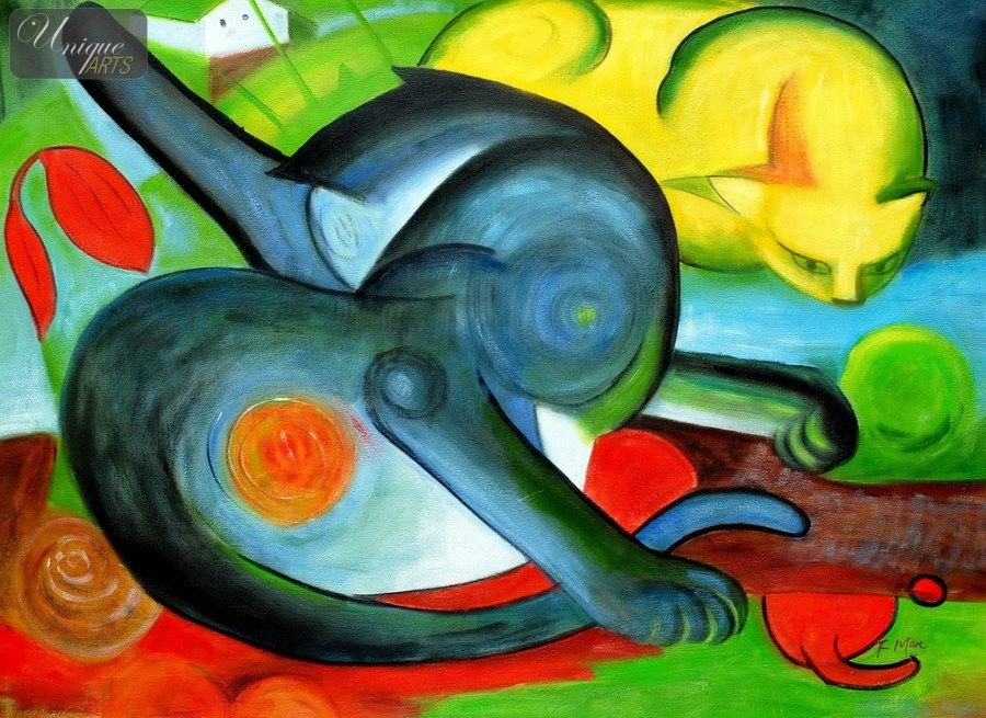 FRANZ-MARC-TWO-CATS-BLUE-AND-YELLOW-32X44-034-REPRO-OIL-PAINTING-C36552