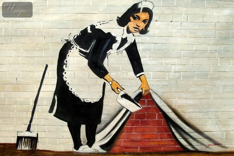 HOMAGE-TO-BANKSY-SWEEPING-UNDER-WALL-48X72-034-OIL-PAINTING-HAND-PAINTED