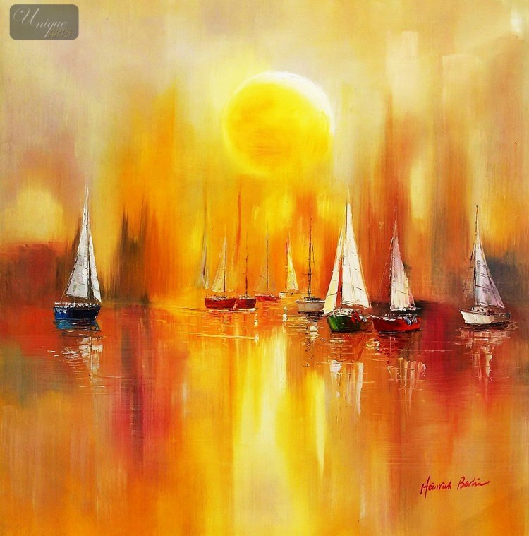 SAILING-BOATS-ON-A-LAKE-32X32-034-ORIGINAL-OIL-PAINTING-E39281-FROM-UK