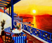 MODERN ART - SUNSET IN GREECE 20X24   OIL PAINTING