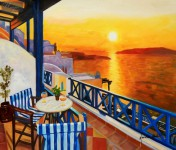 Modern Art - Sunset From A Terrace In Greece 20X24   Oil Painting