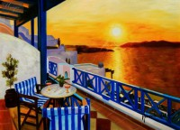 Modern Art - Sunset From A Terrace In Greece 12X16   Oil Painting
