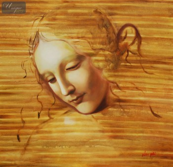 "LEONARDO DA VINCI - HEAD OF A WOMAN  32X32 "" OIL PAINTING – image 1"