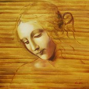 "LEONARDO DA VINCI - HEAD OF A WOMAN  32X32 "" OIL PAINTING – image 2"