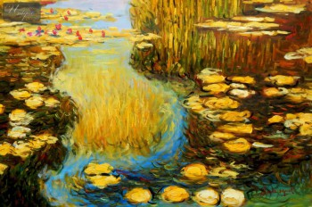 "CLAUDE MONET - WATER LILIES IN SUMMER 24X36 "" OIL PAINTING – image 1"