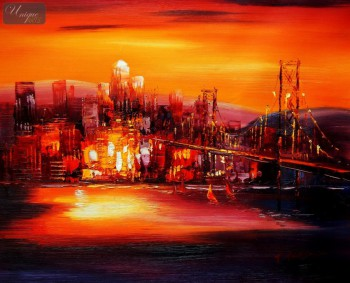 "MODERN ART - GOLDEN GATE BRIDGE AT SUNSET 16X20 "" OIL PAINTING – image 1"