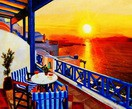 "MODERN ART - SUNSET IN GREECE 20X24 "" OIL PAINTING – image 2"