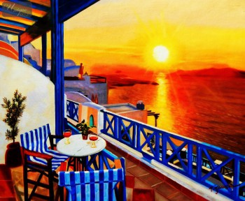 "MODERN ART - SUNSET IN GREECE 20X24 "" OIL PAINTING – image 1"