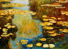 "CLAUDE MONET - WATER LILIES IN SUMMER 32X44 "" OIL PAINTING – image 2"