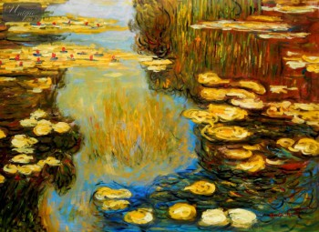 "CLAUDE MONET - WATER LILIES IN SUMMER 32X44 "" OIL PAINTING – image 1"