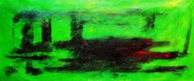 "ABSTRACT - LONDON TWILIGHT 30X72 "" OIL PAINTING – image 2"