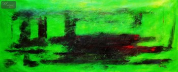 "ABSTRACT - LONDON TWILIGHT 30X72 "" OIL PAINTING – image 1"