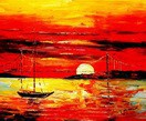"Modern Art - Red Sunset By The Sea 20X24 "" Oil Painting  – image 2"