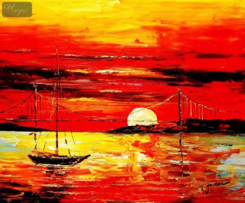 "Modern Art - Red Sunset By The Sea 20X24 "" Oil Painting  – image 1"