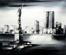 "New York Manhattan Skyline In The Moonlight 20X24 "" Oil Painting – image 2"
