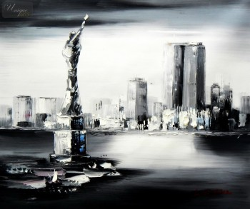"New York Manhattan Skyline In The Moonlight 20X24 "" Oil Painting – image 1"