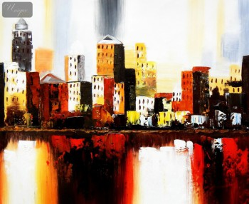 "Abstract - New York Downtown  20X24 "" Oil Painting – image 1"