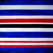 "Modern Art - Blue Red White  Stripes 32X32 "" Oil Painting – image 2"