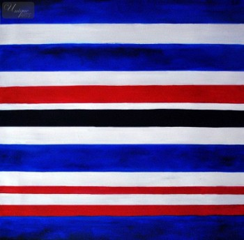 "Modern Art - Blue Red White  Stripes 32X32 "" Oil Painting – image 1"