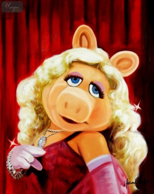"Pop Art - Muppets Miss Piggy 16X20 "" Oil Painting – image 1"