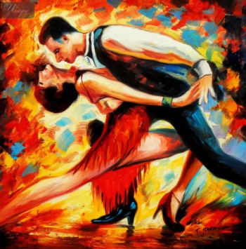 "Modern Art - The Last Dance 24X24 "" Oil Painting – image 1"