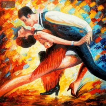 "Modern Art - The Last Dance 48X48 "" Oil Painting – image 1"