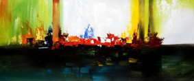 "Abstract - Skyline On Fire  30X72 "" Oil Painting – image 2"