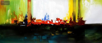 "Abstract - Skyline On Fire  30X72 "" Oil Painting – image 1"