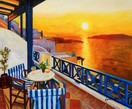 "Modern Art - Sunset From A Terrace In Greece 20X24 "" Oil Painting – image 2"