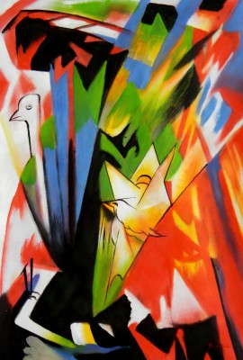 "Franz Marc - Birds 24X36 "" Oil Painting"