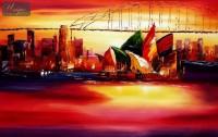 MODERN ART - SYDNEY OPERA AT SUNSET 24X36   ORIGINAL