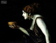 FRANZ VON STUCK - TILLA DURIEUX AS CIRCE  12X16   OIL PAINTING MUSEUM QUALITY