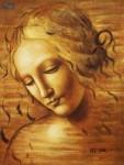 LEONARDO DA VINCI - FEMALE HEAD (LA SCAPIGLIATA)  12X16   OIL PAINTING